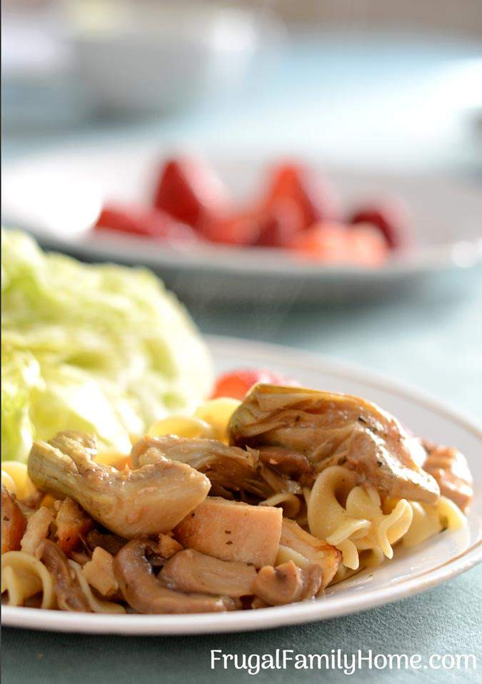Chicken Artichoke Bake ~ This is a healthy chicken artichoke pasta recipe is easy enough for everyday dinner but fancy enough for a company dinner.