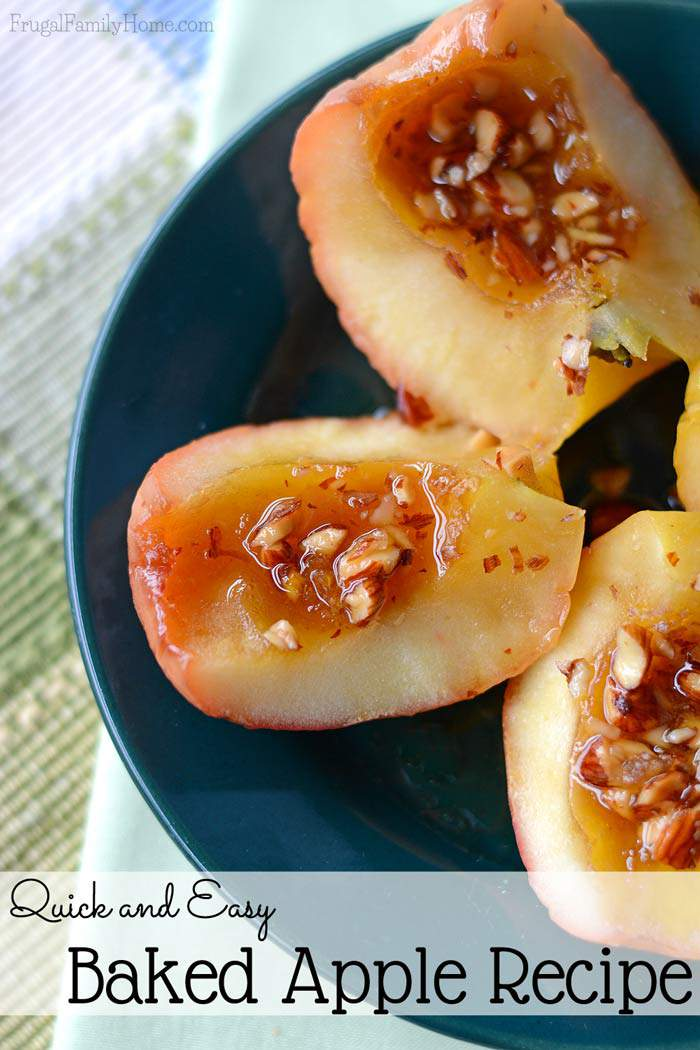 This is a quick and somewhat healthy dessert that our family loves. You only need 4 ingredients and a few minutes to make this baked apple recipe. It's makes a great fall dessert your family will love.