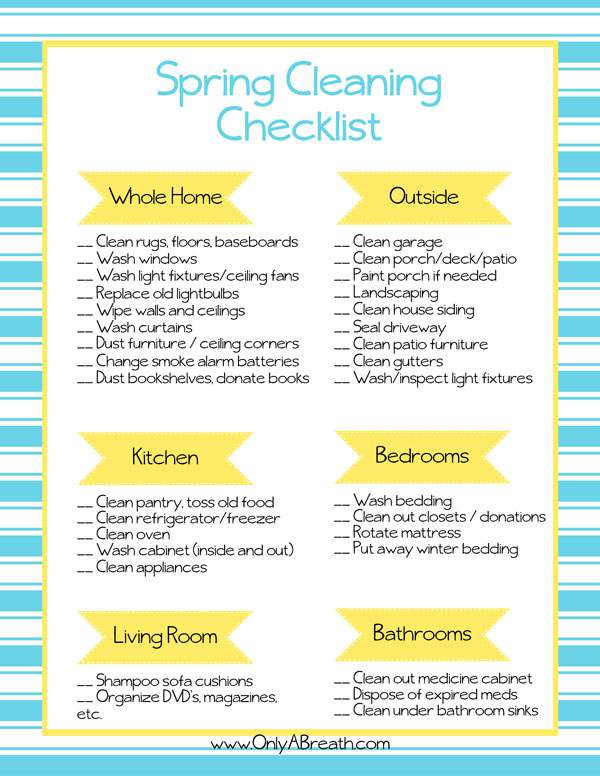 Free Printable Spring Cleaning Checklist  Frugal Family Home