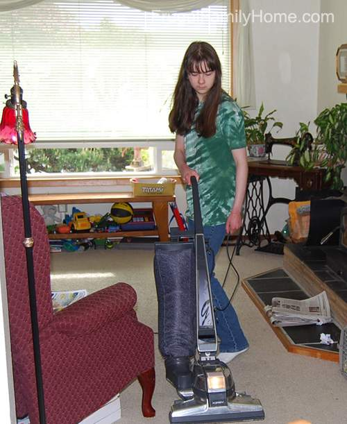 Daughter Vacuuming