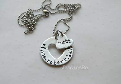Mother's Heart Hand Stamped Necklace