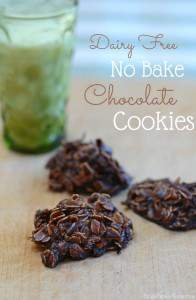 This is a great cookie recipe for summer or anytime you don't have the space in the oven to bake cookies. It's my favorite no bake cookie recipe. With just a few ingredients and a little time you can be enjoying yummy chocolate cookies. These no bake cookies are dairy free too. It took a little time to get the recipe just right but if you need to eat dairy free, you'll love this no bake cookie recipe.