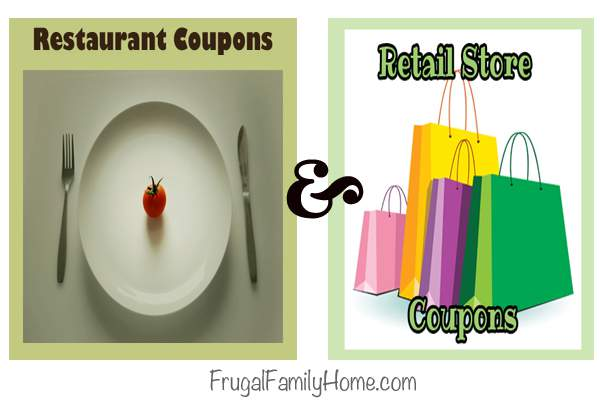 Restaurant and Retail store coupons