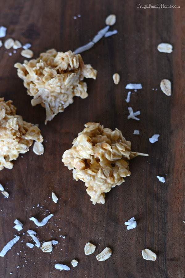 Quick and easy dessert idea, peanut butter no bake cookies.