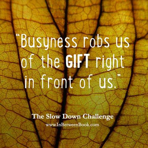 Slow Down Challenge, Day 2 Savor the Moment