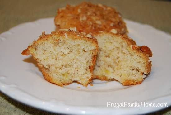 Close up of cut banana nut muffin