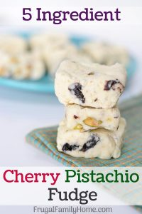Cherry Pistachio fudge recipe made and ready to enjoy.