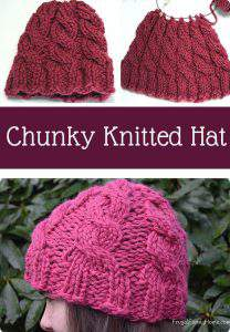 Chunky Knit Hat ~ This cable knit hat pattern is perfect for to learn how to do cables. It's quick to make with bulky yarn and fits really well. It would make a wonderful Christmas gift too.