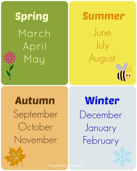 Teaching the Seasons Cards