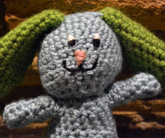 Crochet Bunny with an Embroidered  Face