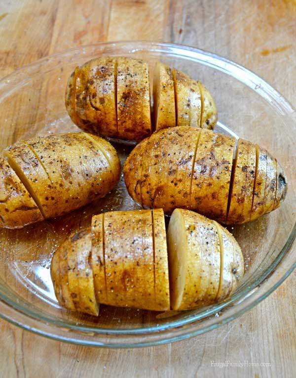 Easy microwave hasselback potatoes