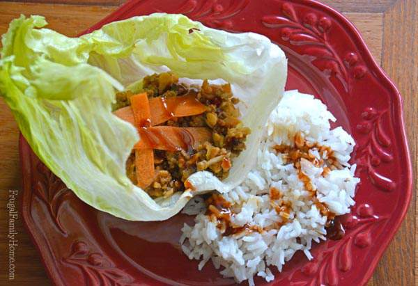 A quick stove top recipe for ground beef lettuce wraps, Frugal Family Home