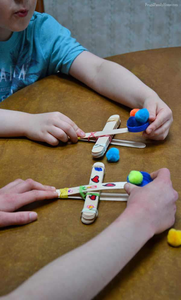 Popsicle Catapult, easy to make craft, Frugal Family Home