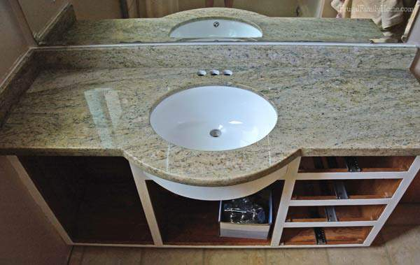 Countertop installed on our DIY Bathroom Vanity Update | Frugal Family Home
