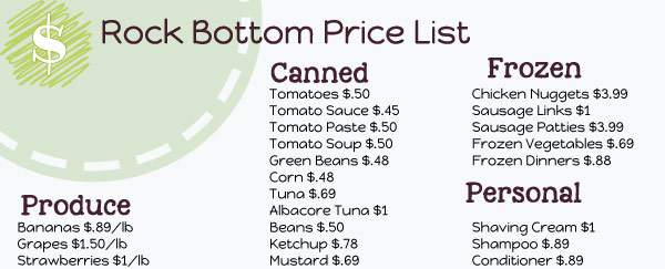 Rock Bottom Price List to Print for Free | Frugal Family Home