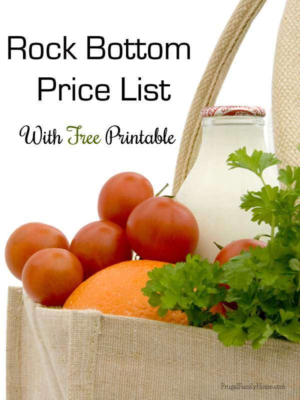 Rock Bottom Price List Free Printable | Frugal Family Home