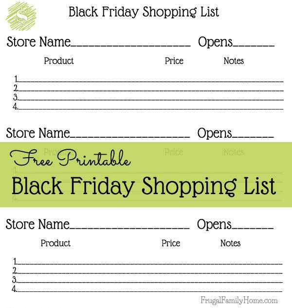 Free Black Friday Shopping list printable | Frugal Family Home