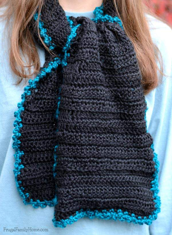 Picot edged crochet scarf