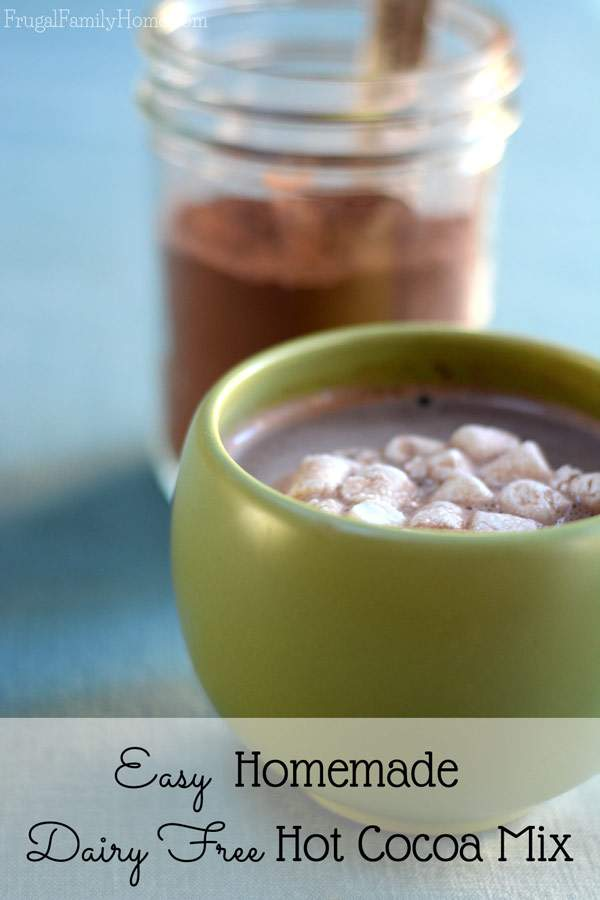 Make your own dairy free hot cocoa mix at home. It only takes 5 ingredients and a few minutes to make.