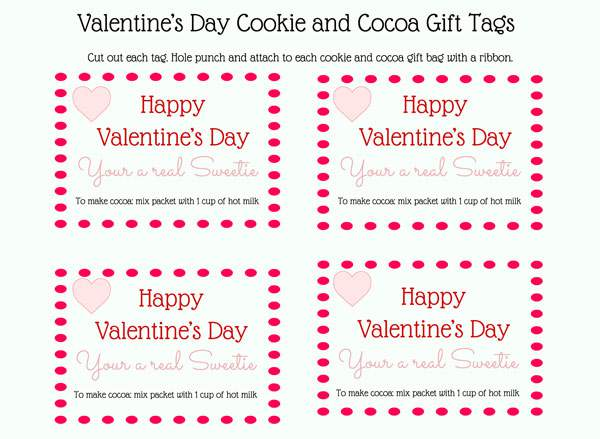 Free printable gift tags to go with hot cocoa mix and cookies for a great Valentine's Day gift.