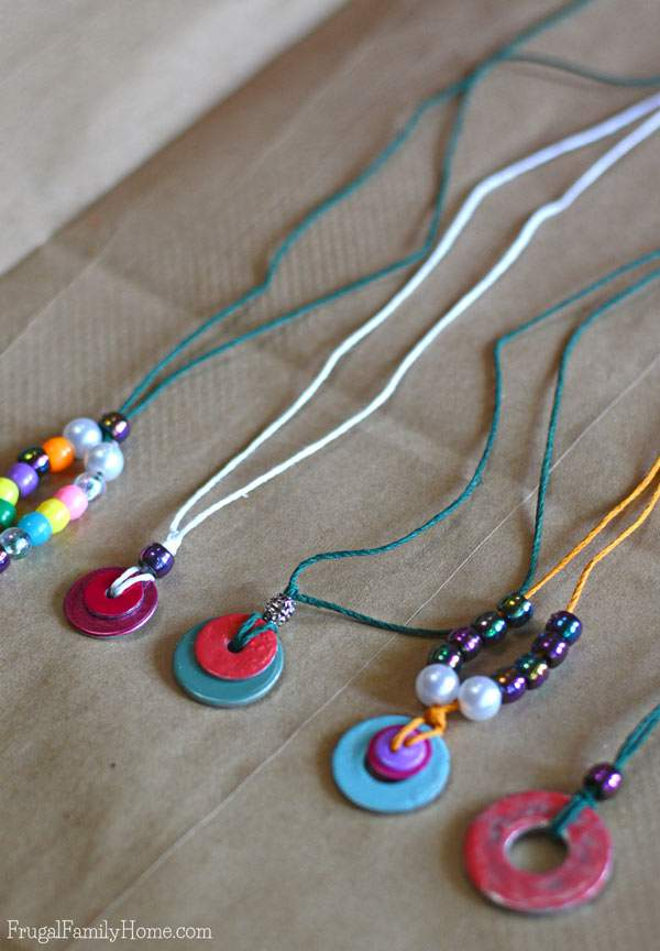 Kid S Craft Washer Necklace Tutorial Frugal Family Home