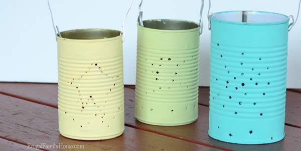 With summer coming to an end soon, the night is coming on faster in the evening. Light up the last of these summer nights with these easy to make diy tin can lanterns. No only would they be great to light up the summer evenings but these tin can lanterns would also be great for decorating with in the fall.