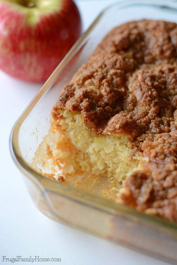 What happens when you combine yummy crisp apples with a delicious cake recipe? You get this great apple crumble cake recipe. You need to see just how easy it is to make. It's a perfect breakfast recipe or a great dessert. We love enjoy it in the fall when the apples are fresh and crisp.