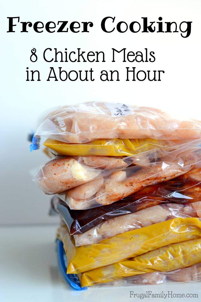 8 easy freezer meals that can be ready for the freezer in just about an hour. These are all chicken recipes so you can stock up your freezer when you find chicken on sale without breaking your budget. Come grab the printable recipe booklet and watch the video to see just how easy it is to make these freezer friendly meals.