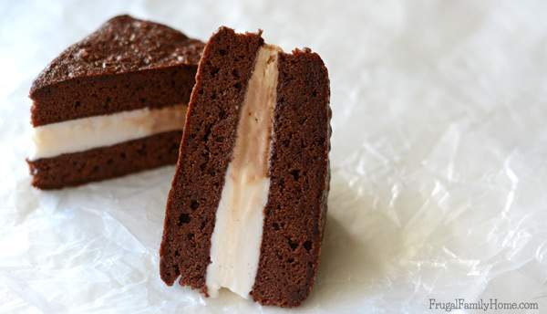 Need a delicious dairy-free dessert to serve? These easy to make frozen brownie sandwiches are dairy free. They have two flavors of frozen dessert sandwiched between a dairy free brownie. Make them fancier by cutting them up and adding them to a stemmed glass. Sprinkle with nutmeg for Thanksgiving or with crushed candy canes for Christmas. They are sure to be a delicious dessert anyway you make them. #DairyFree4All [AD]