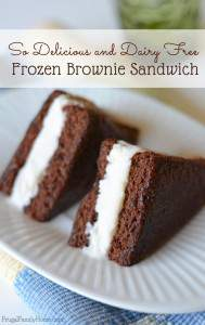 Delicious and Dairy Free Frozen Brownie Sandwich