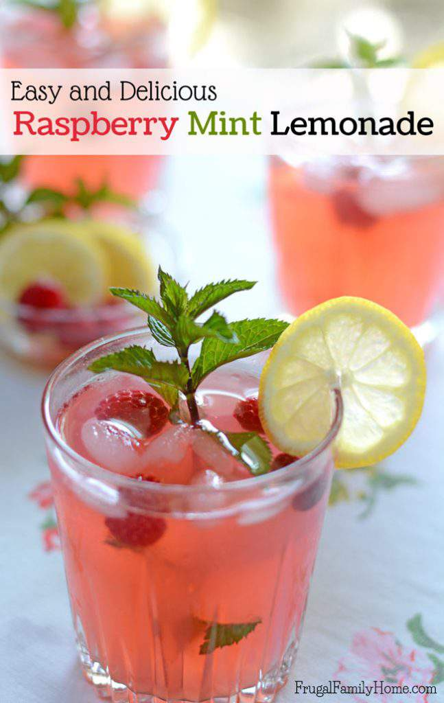 This is the best homemade lemonade I've made. It easy to make and is made with lemon juice. The fresh raspberries and mint really make it special. The mint isn't overpowering, it has just the right balance of flavors. It's an easy raspberry mint lemonade recipe you can make for every day during the summer. You can garnish the lemonade to make it fancy enough for parties.
