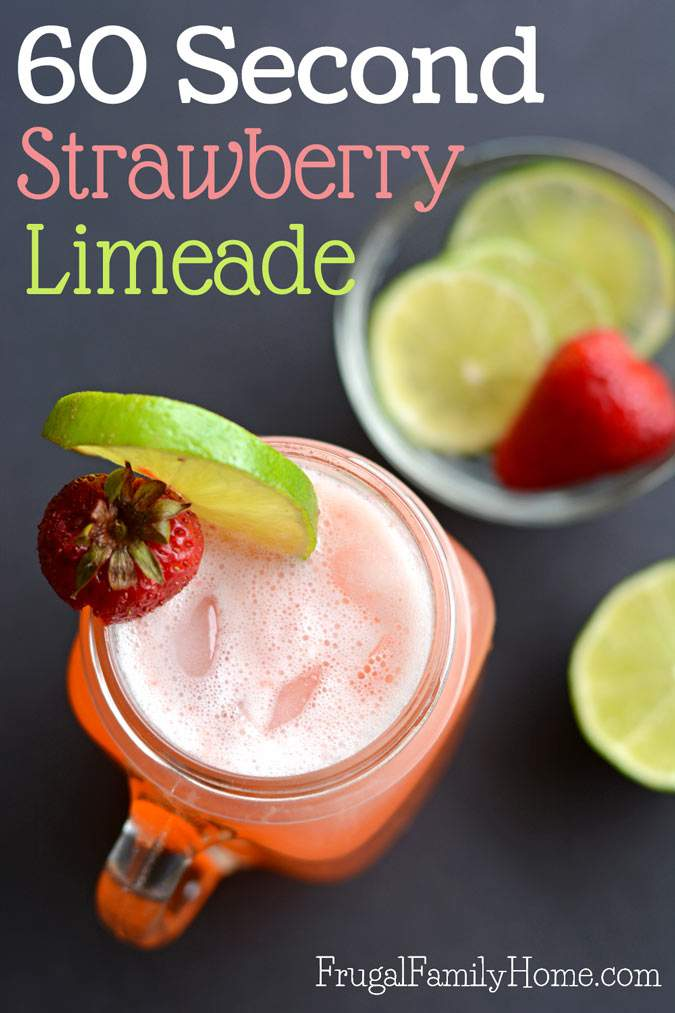 This recipe for homemade strawberry limeade is so good. The best thing about it is, you can make it in about 60 seconds. I know so fast! This is an easy 3 ingredient strawberry limeade recipe that has the perfect blend of sweet and tart. I love making a single serving of this limeade during fresh strawberry season. But you can also use frozen berries in this recipe to enjoy it all year long. Grab the recipe and give it a try, I'm sure you won't be disappointed.