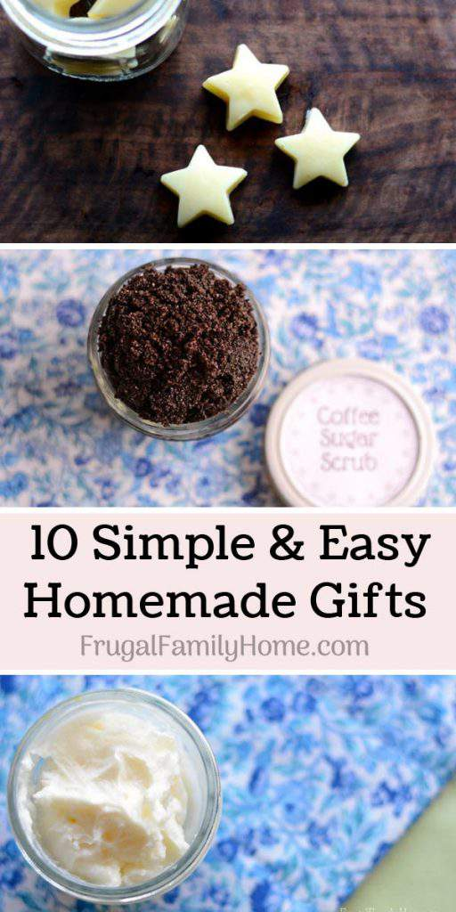 10 Easy DIY Homemade Gifts for Christmas ~ All 10 of these homemade gifts are simple and easy to make. Most of them can be made in less than a day and with just a few items. Come find a great homemade gift to make for someone you love.