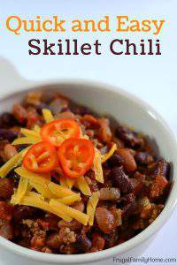 Skillet Chili, a Quick, Simple and Easy Dinner Idea