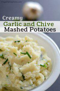 An easy creamy homemade mashed potatoes recipe with garlic and chives. These are so delicious and they can be made ahead and reheated when it's time to serve.