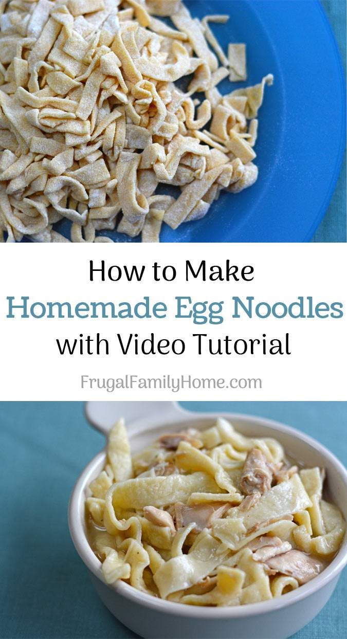 Homemade Egg Noodles recipe, this is an easy homemade recipe for egg noodles that doesn't require a pasta machine to make. Cook them in chicken broth and leftover chicken and you have a frugal easy meal.