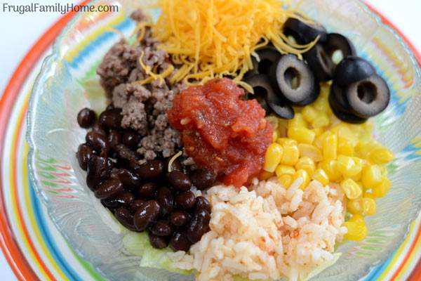 A quick and easy dinner, taco bowls. These are made with ground beef and are quick to make. Just a few simple ingredients are all that is needed. They are a favorite at our house.