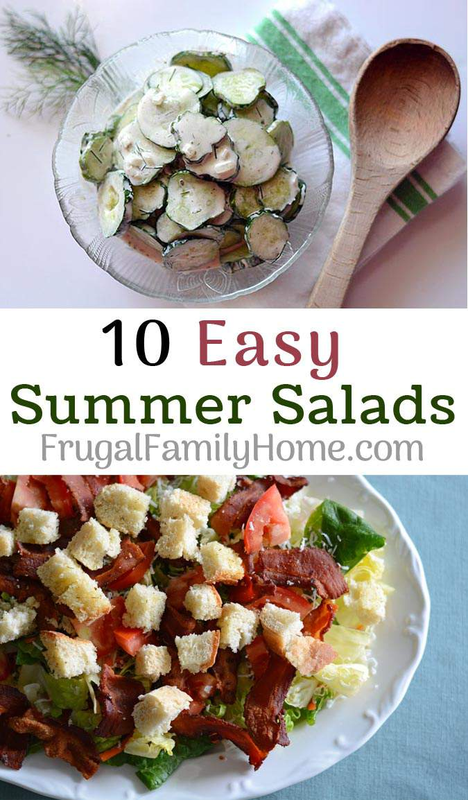 10 easy salad great for those hot summer days when you don't feel like cooking and heating the house up. All of the recipes are tried and true recipes that our family enjoys. Plus a couple of salad dressing recipes too.