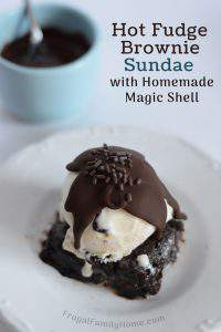 Fudge Brownie Ice Cream Sundae with 2 Ingredient Magic Shell Topping