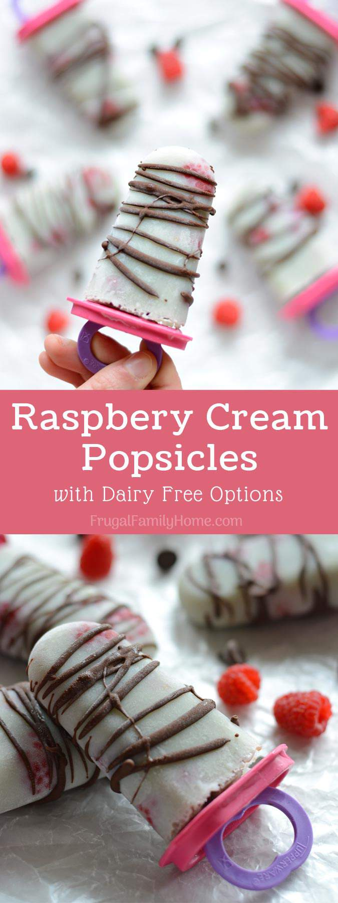 Raspberry Cream Popsicles, these popsicles make a healthy summer dessert for everyone. It's a super easy recipe with only 3 ingredients needed. You can use coconut milk to make them dairy free too.