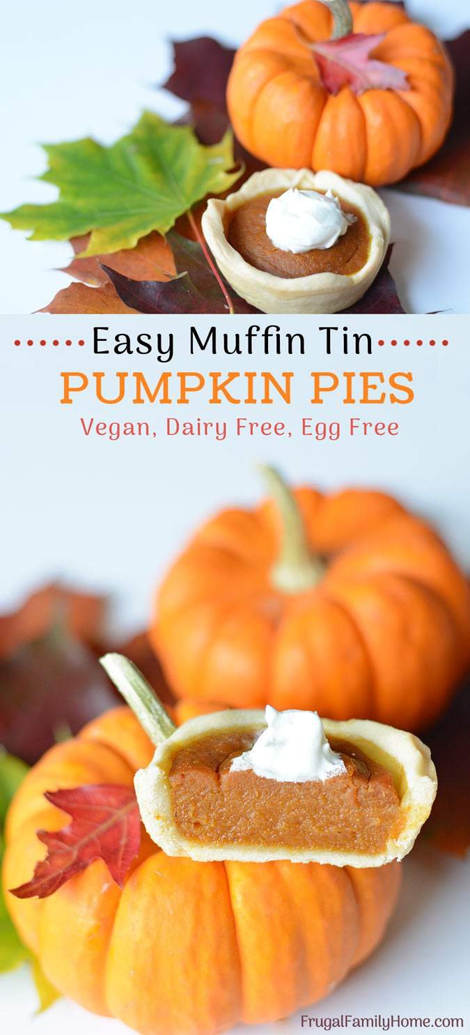 Make these mini pumpkin pies from scratch for Thanksgiving. This is an easy recipe that is vegan, dairy free, and egg free too. They are easy to make since they are baked in a muffin tin and the filling is quickly mixed up in a food processor too. Everyone will love these individually sized pumpkin pies.