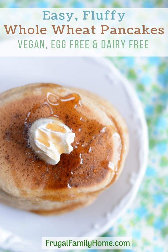 This easy whole wheat pancakes recipe is easy to make and healthy too. It doesn't contain eggs or oil. You can make it dairy free by using almond milk or another non dairy milk. It's a great weekend breakfast but fast enough to be made on a weekday too. Even though these pancakes are made with whole wheat, they are light and fluffy. Come see what the secret is to making them fluffy instead of heavy and dense.