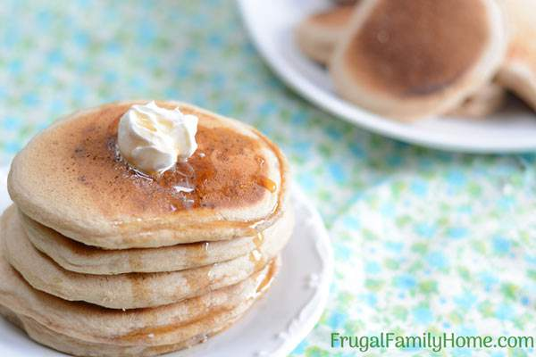 Easy whole wheat pancakes vegan dairy free and egg free frugal this whole wheat pancake recipe is easy to make and healthy too it doesn ccuart Choice Image