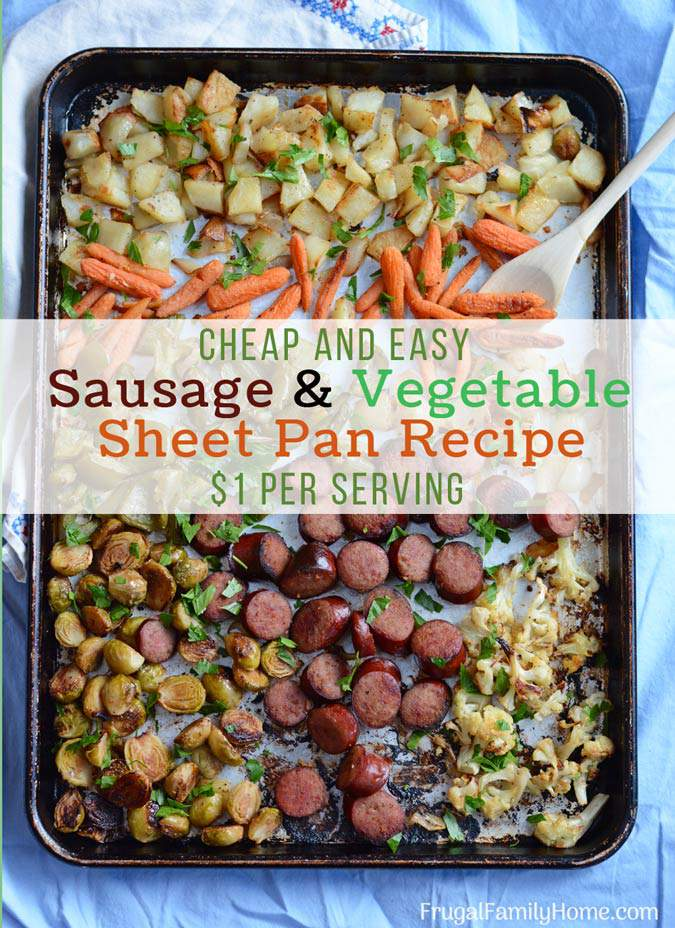 A super easy sausage and vegetable sheet pan dinner. Make your own combination of onions, Brussels sprouts, and potatoes roasted in the oven for a quick dinner. That's easy to clean up too since it's made in one pan.