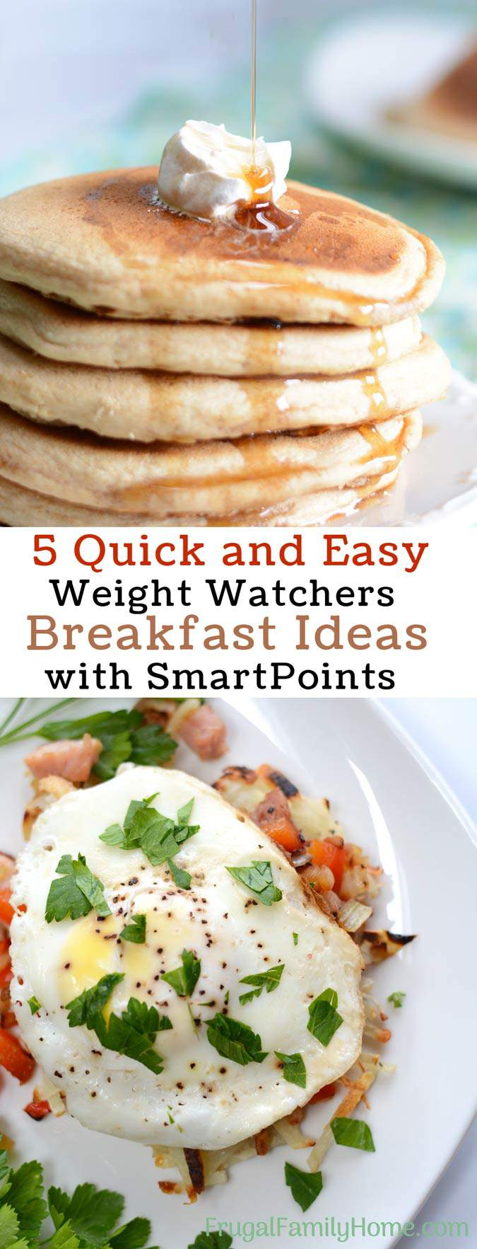 Need a few Weight Watchers breakfast ideas? I know it's easy to get stuck in a breakfast rut but these 5 recipes with points can help. All of the recipes are easy to make and give you the Smartpoints too. There are ideas with eggs, oatmeal and even make ahead smoothie recipe too. Come see which one you'd like to try first.