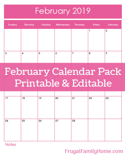 The cover of the February Calendar Pack