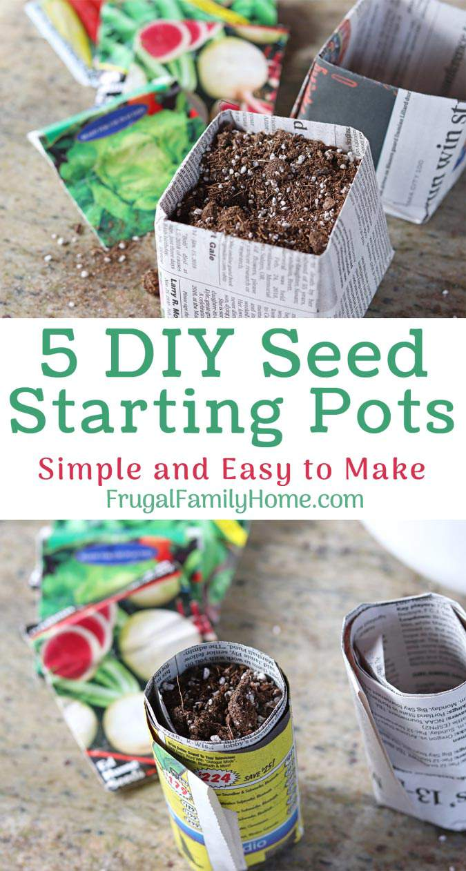 Pinterest pin for diy seed starting pots