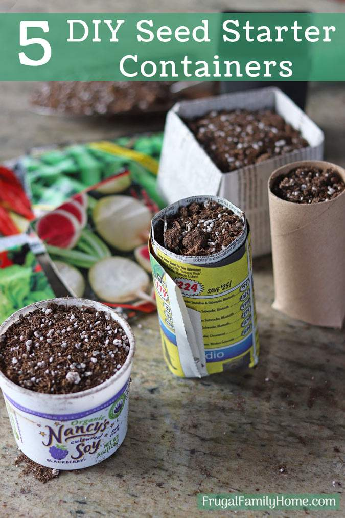 5 ways to make plant pots to start seeds, two round and one square.
