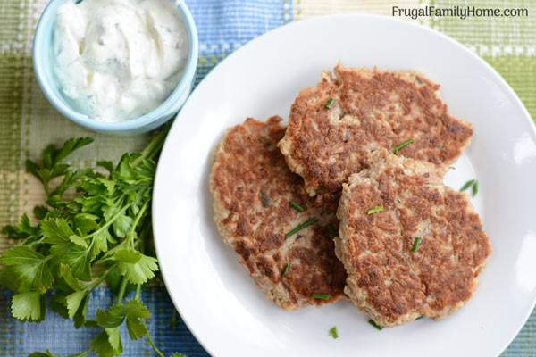 Easy tuna patties on a plate.