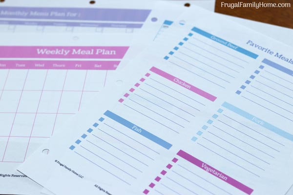 meal planning sheets for a homemaking binder